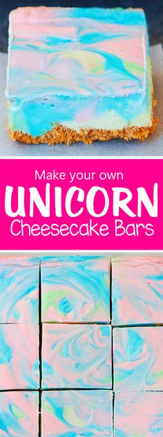 These whimsical unicorn cheesecake bars are like something straight from a fairytale. Looking for that perfect Easter dessert? The sweet & creamy pastel cheesecake bars, based on the popular Rainbow… Desserts Ostern, Unicorn Foods, Cheesecake Bars, Summer Cheesecake, Rainbow Cheesecake, Unicorn Birthday Parties, 5th Birthday, Birthday Ideas, Rainbow Unicorn