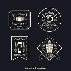 Retro beer badges Free Vector
