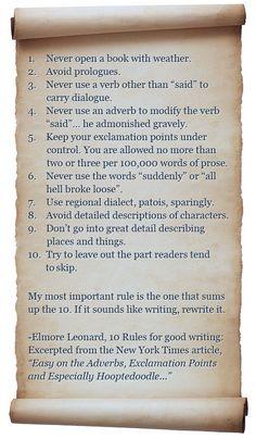 """Elmore Leonard's 10 Rules of Good Writing."""