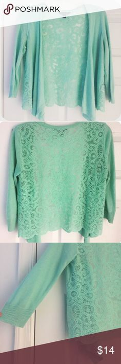 Mint Green Cardigan 3/4 length sleeve Cardigan with a waterfall front opening, and lace back. Simply adorable- perfect for any time of the year! Size XS, but will fit a Small. American Eagle Outfitters Tops