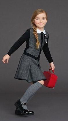 Dolce & Gabbana back to school 2015 girl grey outfit Fashion Kids, Winter Fashion, Fashion Outfits, Little Girl Dresses, Girls Dresses, Dolce And Gabbana Kids, Grey Outfit, Little Fashionista, Stylish Kids