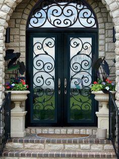 Traditional Front Door with Glass panel door, Transom window, exterior brick floors
