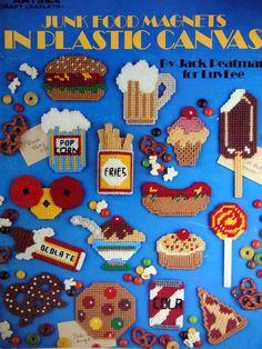 Junk Food Magnets In Plastic Canvas Vintage Plastic by NeedANeedle