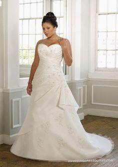 Taffeta Sweetheart Vertical Pleated Bodice Wedding Dress