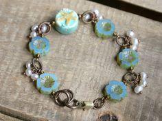 Starfish Wire Wrapped Bracelet. Czech by GillsHandmadeJewels. $39.75