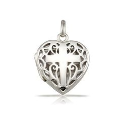 WithLoveSilver 925 Sterling Silver Filigree Cross Heart Shape Locket Pendant >>> You can get more details by clicking on the image.(This is an Amazon affiliate link)
