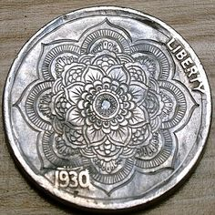 Hobo Nickel Love Token Diamond Set Ornamental Mandala by Shaun Hughes Mo Money, Hobo Nickel, Coin Art, Antique Coins, Mystery Of History, World Coins, New Hobbies, Coin Collecting, Silver Coins
