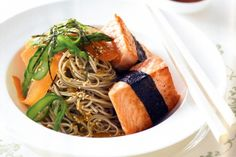 Salmon with nori and sesame soba noodles main image