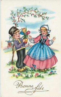 Boertje en boerinnetje, 1956   Vintage ansichtkaarten   ZomaarVintage