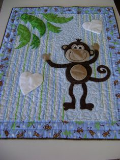 monkey quilts | Monkey Quilt for Baby, Toddler, Child with Appliqued Monkey in Blues ...