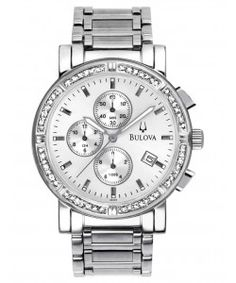 BULOVA Diamond Chronograph Silver Dial Stainless Steel (96E03) Bulova Watches, Chronograph, Stainless Steel, Diamond, Silver, Diamonds, Money