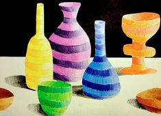 michela l. Another exercise in light and shade for classes 2 (grade 7-8), made with colored pencils.When the bottles and jars are colorful, they are glued on a new sheet in a free composition wher…