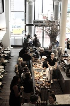 interior of city bakery, a new york city bakery + cafe Bakery Cafe, Cafe Bar, Cafe Deli, Cafe Shop, Café Restaurant, Restaurant Design, Coffee Shops, Deco Cafe, Bakery New York