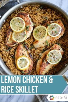 This Lemon Chicken & Rice Skillet is super flavorful and is all cooked in one pan! This is a great meal prep recipe and will sure to become a family favorite. ALWAYS a good idea.chicken and rice. Healthy Living Recipes, Healthy Chicken Recipes, Clean Eating Recipes, Healthy Eating, Paleo Meals, Healthy Food, Yummy Food, Chicken Rice Skillet, Lemon Chicken Rice