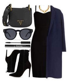 """Black Dress"" by smartbuyglasses-uk ❤ liked on Polyvore featuring Prada, ALDO, Quay, Hera, MaxMara, Victoria Beckham and black"