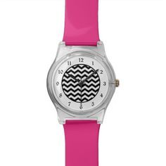 Black White Chevron Wrist Watches by Time Defined