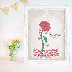 This vintage style beauty and the beast guest book is perfect for your story book wedding! Be our guest, be our guest, put your signature with the