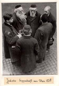 Vienna, Austria, 1938, Jewish men in traditional dress, photographed by a German propaganda photographer.