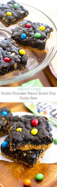 MandM's® Crispy Double Chocolate Peanut Butter Chip Cookie Bars | A Latte Food