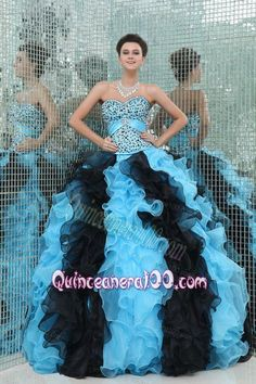 Aqua and Black Sweetheart Beading and Ruffles Quinceanera Dress
