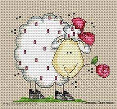 Photo Sheep Cross Stitch, Xmas Cross Stitch, Cross Stitch Heart, Cross Stitch Cards, Cross Stitch Animals, Cross Stitching, Cross Stitch Embroidery, Embroidery Patterns, Cross Stitch Patterns