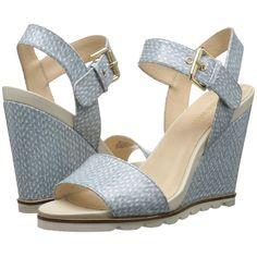Nine West Gronigen3 (Off-White/Light Blue Synthetic) Women's Wedge... ($99) ❤ liked on Polyvore featuring shoes, sandals, champagne sandals, nine west sandals, wedge sandals, platform sandals and high heel sandals