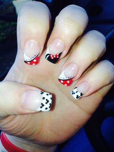 60 Pretty French Nails Designs 2018 - Hair & Beauty that I love - French Nail Designs, Nail Polish Designs, Cute Nail Designs, Minnie Mouse Nails, Mickey Nails, Disney Toe Nails, Disney Toes, Disney Manicure, Mickey Mouse Nail Art