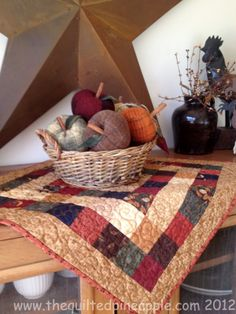 Mini quilt, love the wool apples . I think that I will try to make some out of fall colored wool.