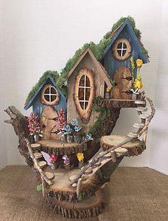 Unique fairy/pixie houses built into fallen logs. Fairy Tree Houses, Clay Fairy House, Fairy Village, Gnome House, Fairy Garden Houses, Clay Fairies, Little Gardens, Fairy Doors, Miniature Fairy Gardens