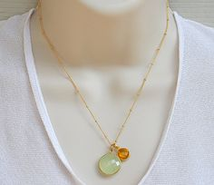 Mother's Natural Birthstone bezel  station necklace - available in a variety of gemstones, sterling silver or vermeil gold