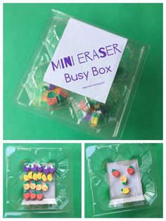 Mini Erasers Busy Box Add mini erasers to a container or box and you have a travel-friendly toy for your kids! Kids Travel Activities, Fine Motor Activities For Kids, Preschool Learning Activities, Easter Activities, Indoor Activities, Toddler Preschool, Preschool Activities, Busy Boxes, Creative Play