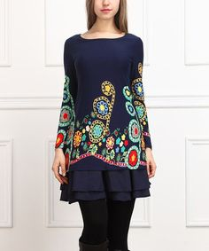 Another great find on #zulily! Navy & Red Floral Ruffle Tunic #zulilyfinds
