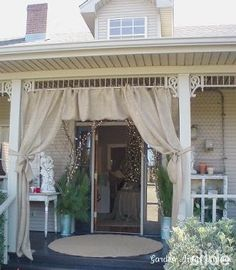 burlap curtains on porch   Of course I'm thinking back deck...