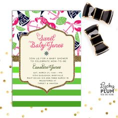 Lilly Pulitzer Inspired  Baby Shower Invitation Design / Perfect for the Lilly Pulitzer nautical inspired party. Choice prints of fun floats, limes and lobsters and starfishes, paired with ombre pink or green stripes, and accented with glitter, this fun whimsical invite will make any Lilly lover swoon. Colors and text can be tailored to your party. #BabyShower #Invitations