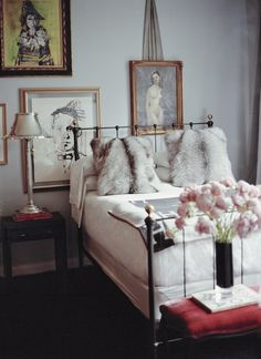 Gold frames / wrought iron bed frame / those delicious pillows ugg
