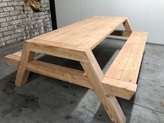 Wooden Picnic Tables, Picnic Table Plans, Outdoor Tables, Woodworking Projects Diy, Diy Wood Projects, Art Furniture, Outdoor Furniture, Wood Steel, Picnic Table