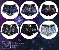 Galaxy jeans: spray with bleach, apply blue paint, add circles of white paint with a sponge, repeat with lilac, make white stars with the brush, then iron when dry. that is what it says in Spanish, more or less