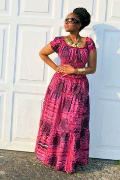 Afro-Bohemian Gypsy style maxi dress by HouseofAfrika on Etsy African Wedding Dress, African Print Dresses, African Print Fashion, African Fashion Dresses, African Dress, African Attire, African Wear, African Women, Bohemian Gypsy
