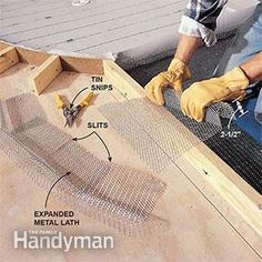 The next step in building the shower pan is to lay in the metal lath.