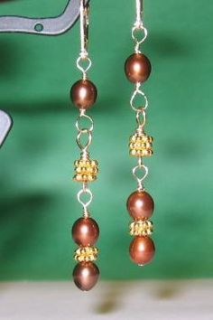 Checkout this amazing deal SALE Studio Sample - Brown Pearl Vermel Dangle Earrings see shop announcement for discount details,$67