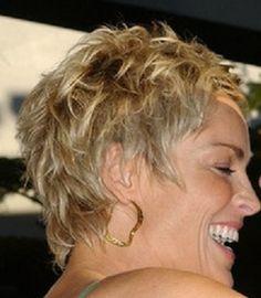 Ooh ooh ooh!!! Another angle of the hair I want! Perfect! Sharon Stone Short Hair, Sharon Stone Hairstyles, Short Choppy Hair, Short Hair Cuts, Pixie Cuts, Short Pixie, Cute Hairstyles For Short Hair, Curly Hair Styles, Messy Pixie Haircut