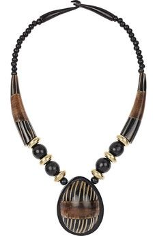 Antik Batik|Dakar resin and brass necklace|NET-A-PORTER.COM - StyleSays