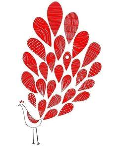 A Lovely Peacock Print Red Feather Bird Animal Illustration Modern Home and Garden Wedding Birthday Gift Idea Children Art. $35.00, via Etsy.