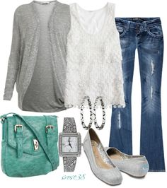 A fashion look from July 2012 featuring grey cardigan, J.Crew and rhinestone studded jeans. Browse and shop related looks. Post Pregnancy Clothes, Post Pregnancy Fashion, Post Baby Fashion, Postpartum Fashion, Pregnancy Outfits, Maternity Fashion, Maternity Outfits, Casual Outfits, Cute Outfits