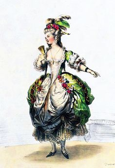 French fashion and costume history of the century. Rococo Fashion, French Fashion, Mode Baroque, Marie Antoinette Costume, 18th Century Costume, Court Dresses, Fashion Illustration Vintage, 18th Century Fashion, Theatre Costumes