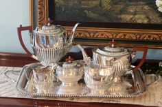 English Silver Plate Tea Service with Barker Brothers Silver Butler Tray.