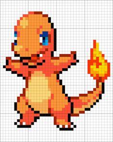 #4 Charmander - Minecraft Pixel Art Pixel Pokemon, Pokemon Charmander, Pixel Pattern, Pattern Art, Grille Pixel Art, Pixel Art Minecraft, Minecraft Buildings, Pixel Art Anime, Crochet Pixel