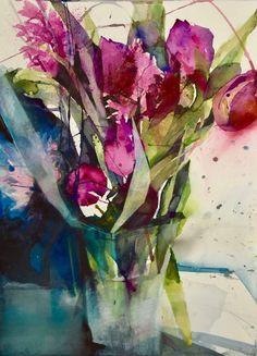 Watercolor Artists, Watercolor Landscape, Abstract Watercolor, Watercolor Illustration, Watercolor Paintings, Watercolours, Abstract Flowers, Watercolor Flowers, Guache