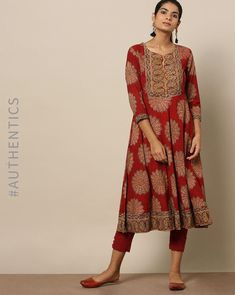 Buy Indie Picks Women Red Handblock Print Kalamkari Cotton Kurta | AJIO Indian Attire, Indian Wear, Kalamkari Kurta, Long Skirt And Top, Printed Kurti Designs, Patiyala Dress, A Line Kurta, Indian Fashion Trends, Indian Look
