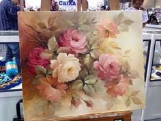 Rose Oil Painting, Tulip Painting, China Painting, Painting Prints, Beautiful Flowers Wallpapers, Beautiful Flowers Pictures, Blue Flower Wallpaper, Beautiful Paintings, Watercolor Flowers